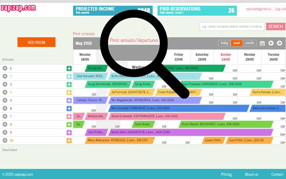 rezerwacja online grafik pokoje pensjonat